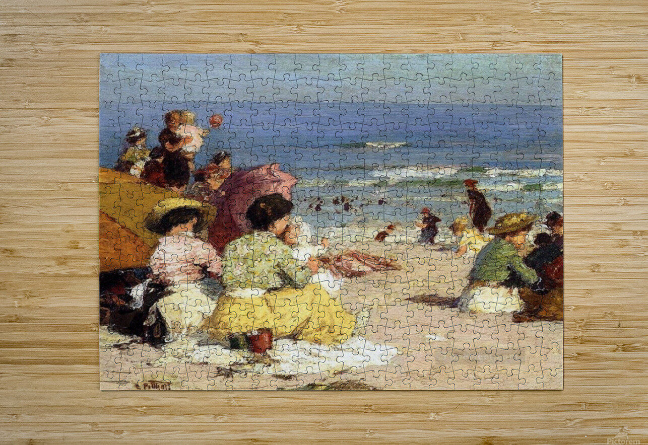 People relaxing by the beach  HD Metal print with Floating Frame on Back