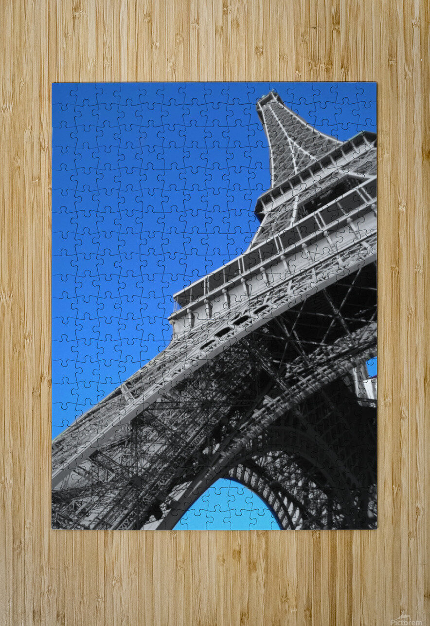 silver Eiffel tower Paris  HD Metal print with Floating Frame on Back