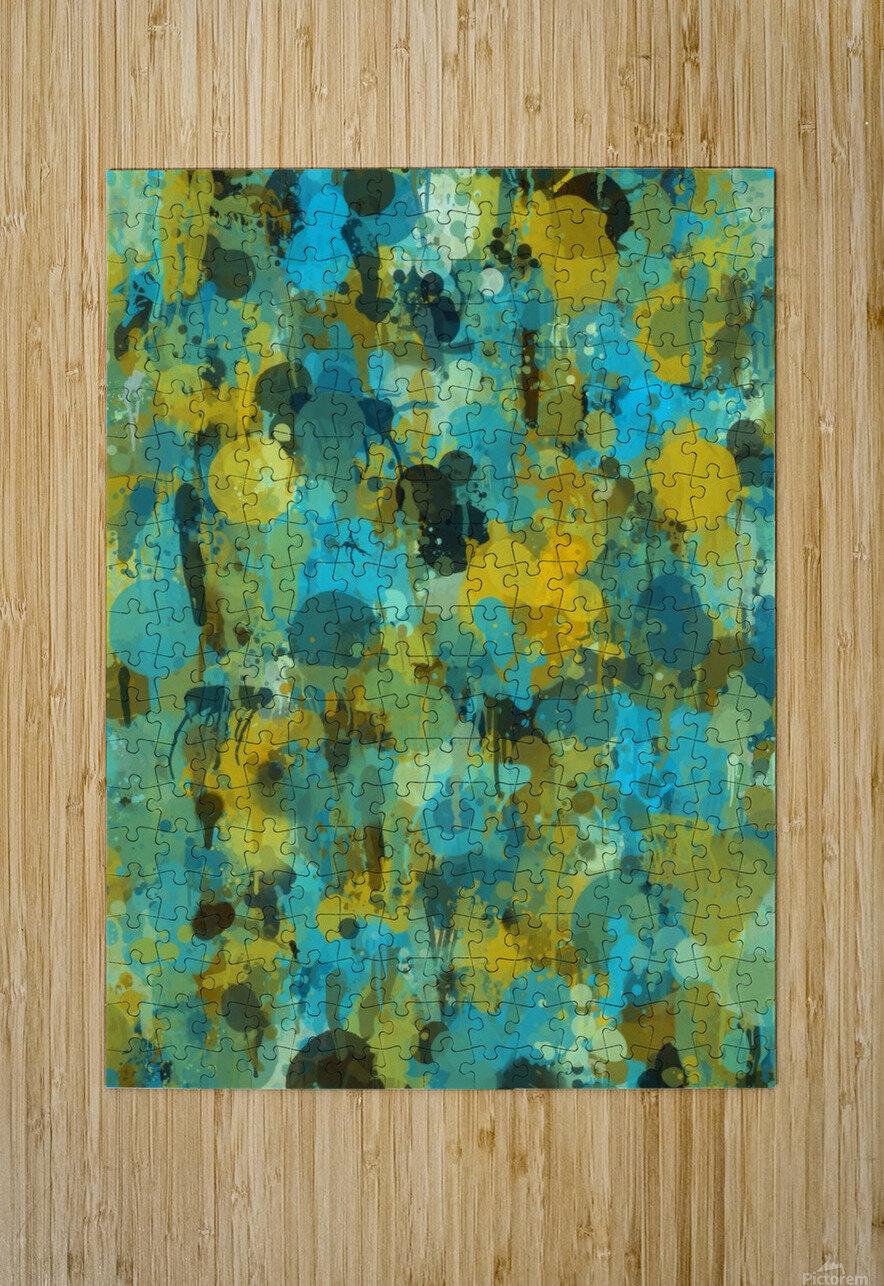 Paint Splattered Graffiti Green Blue Splash  HD Metal print with Floating Frame on Back