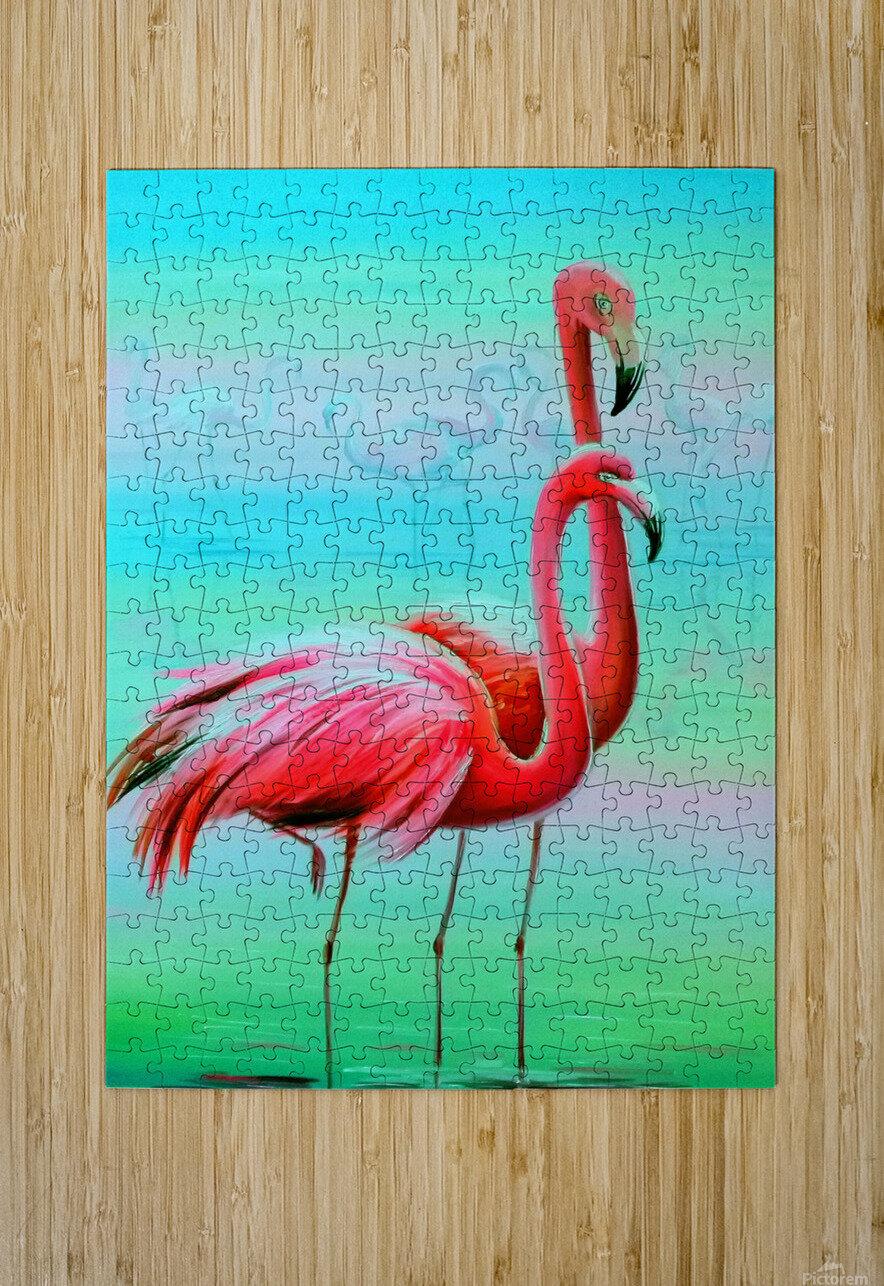 Фламинго на рассвете   HD Metal print with Floating Frame on Back