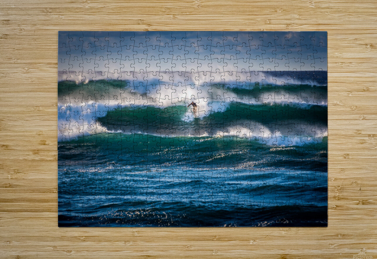 Surfing  HD Metal print with Floating Frame on Back