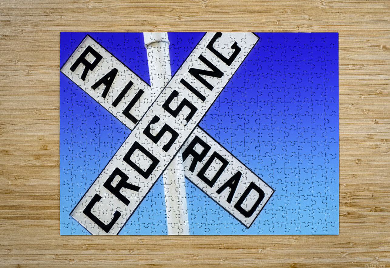 Railroad Crossing Sign  HD Metal print with Floating Frame on Back