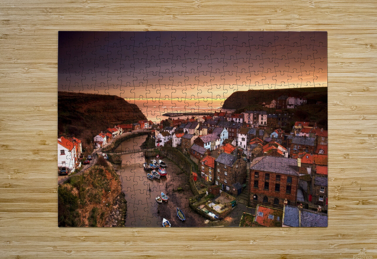 Cityscape At Sunset, Staithes, Yorkshire, England  HD Metal print with Floating Frame on Back