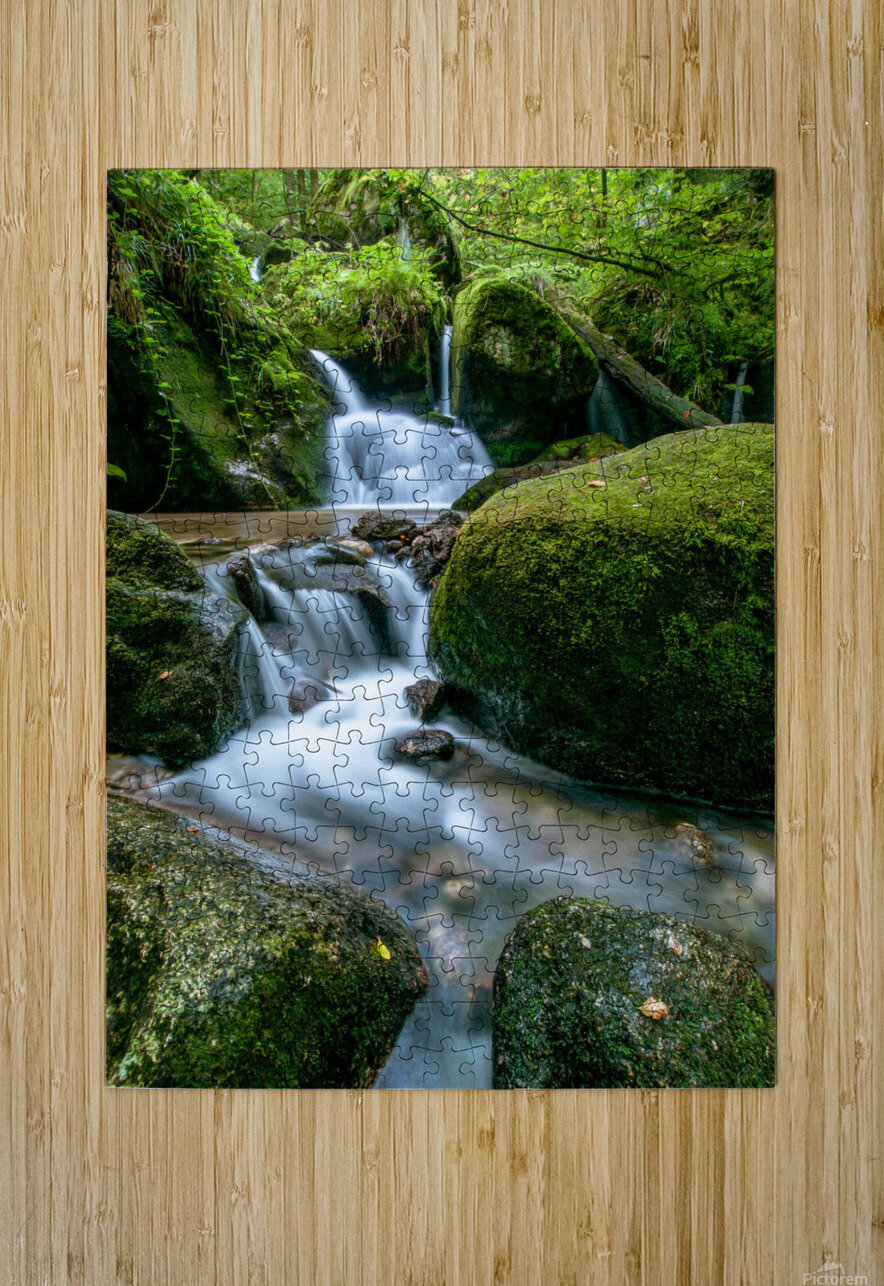 Small Waterfall in the German Black Forest  HD Metal print with Floating Frame on Back