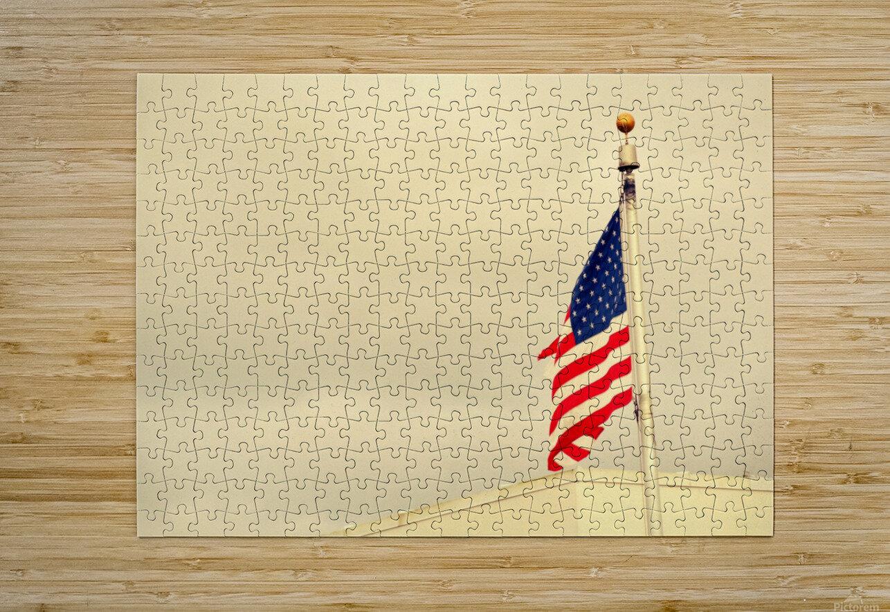 American Flag  Impression métal HD avec cadre flottant sur le dos