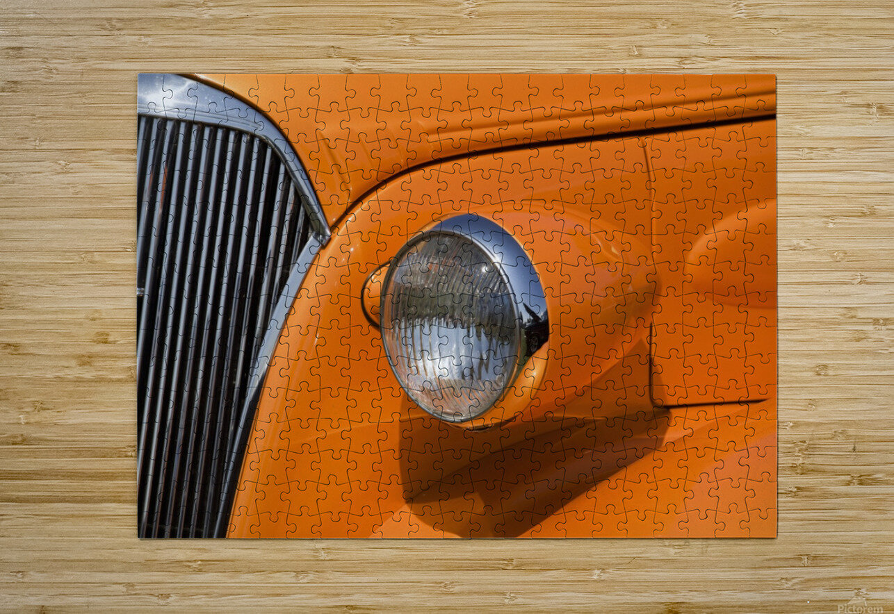 Orange Painted Vintage Car's Headlight And Front Grill; Port Colborne, Ontario, Canada  HD Metal print with Floating Frame on Back