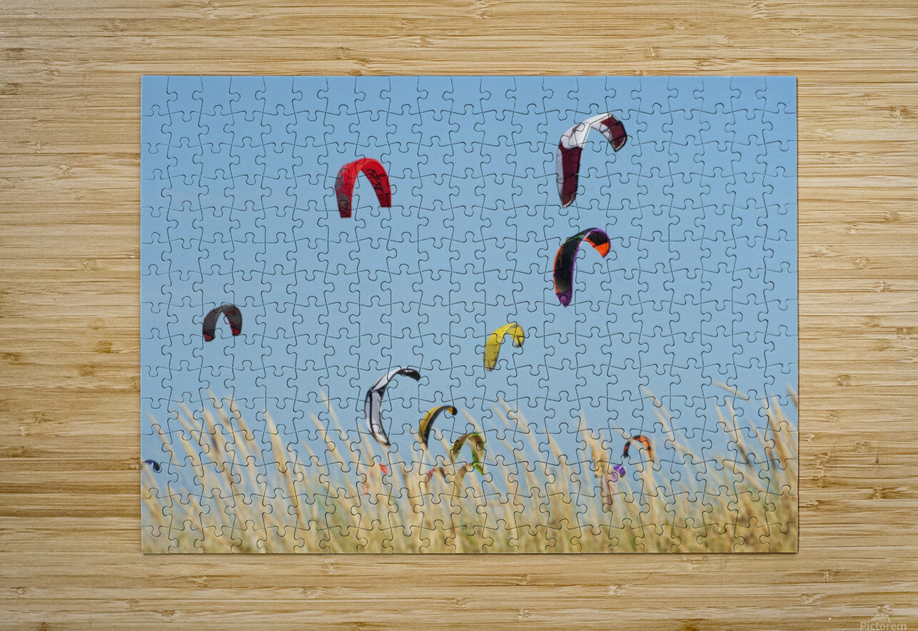 Kites Of Kite Surfers In Front Of Hotel Dos Mares; Tarifa, Cadiz, Andalusia, Spain  HD Metal print with Floating Frame on Back