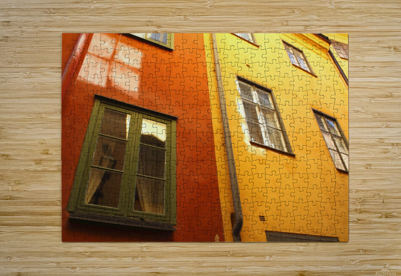 Low Angle View Of Red And Yellow Painted Buildings; Stockholm, Sweden  HD Metal print with Floating Frame on Back