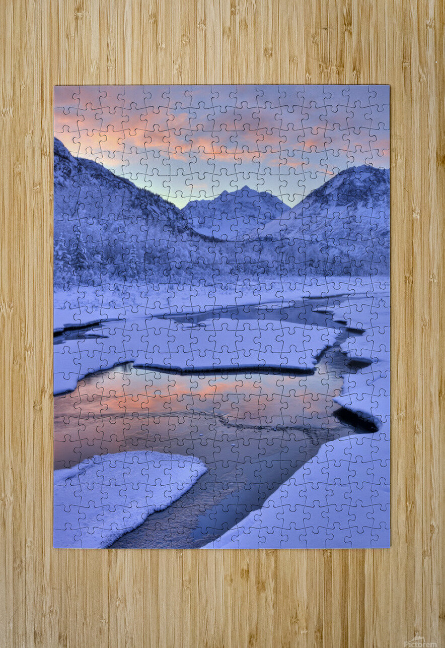 Colorful Sunrise Over A Stream At The Eagle River Nature Center In Chugach State Park, Southcentral Alaska, Winter, Hdr  HD Metal print with Floating Frame on Back