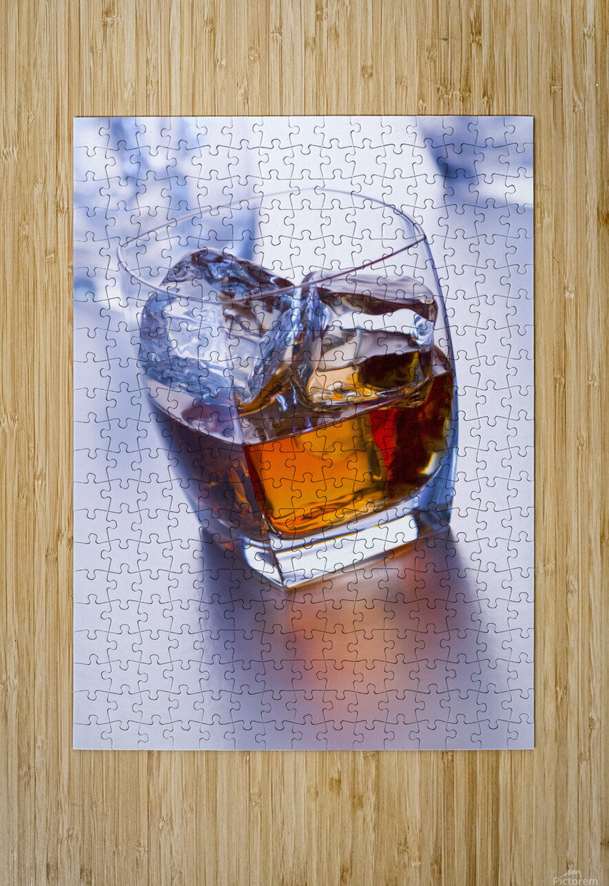Glass of whiskey  HD Metal print with Floating Frame on Back