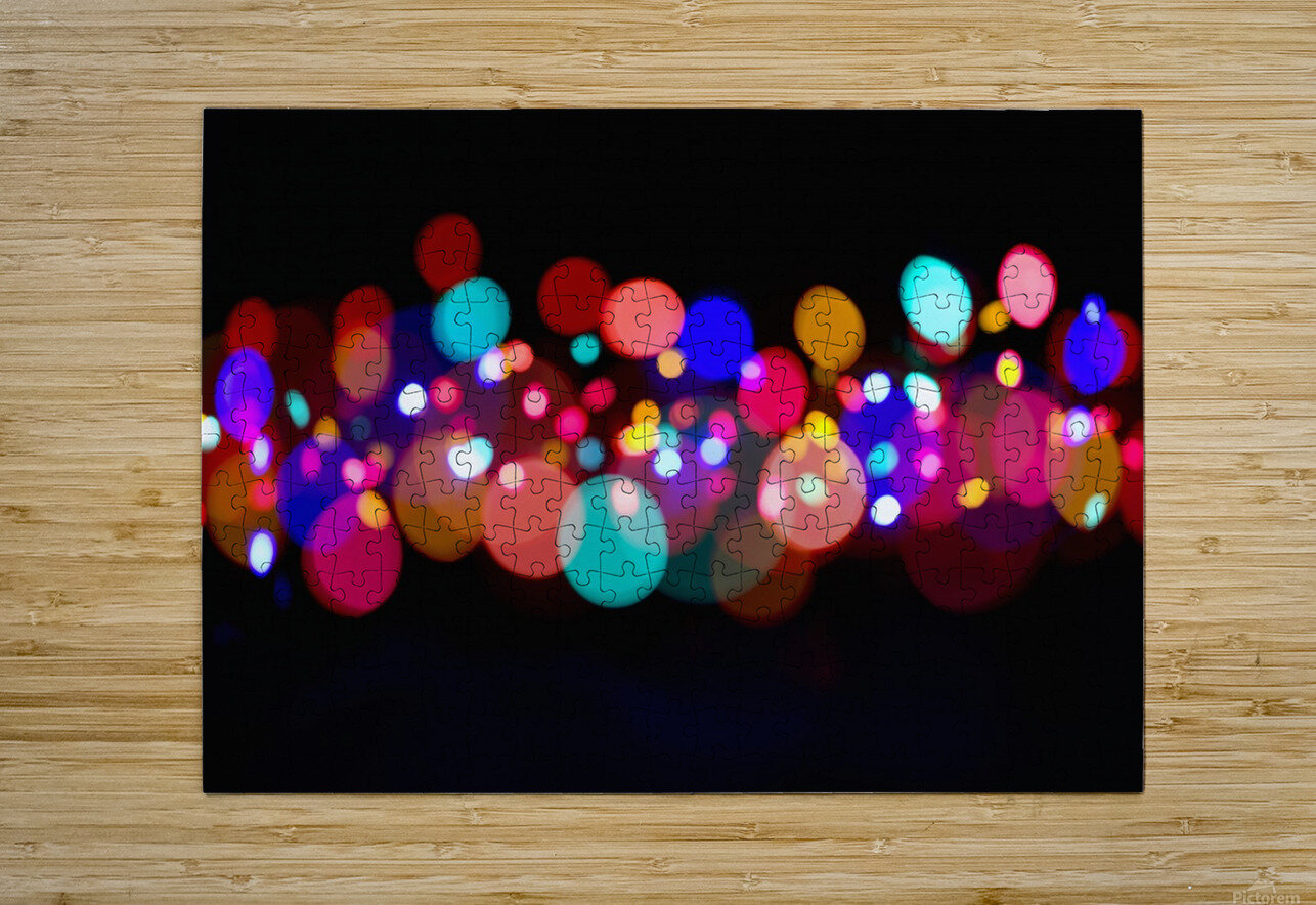 The Blur Of Coloured Lights; Edmonton, Alberta, Canada  HD Metal print with Floating Frame on Back