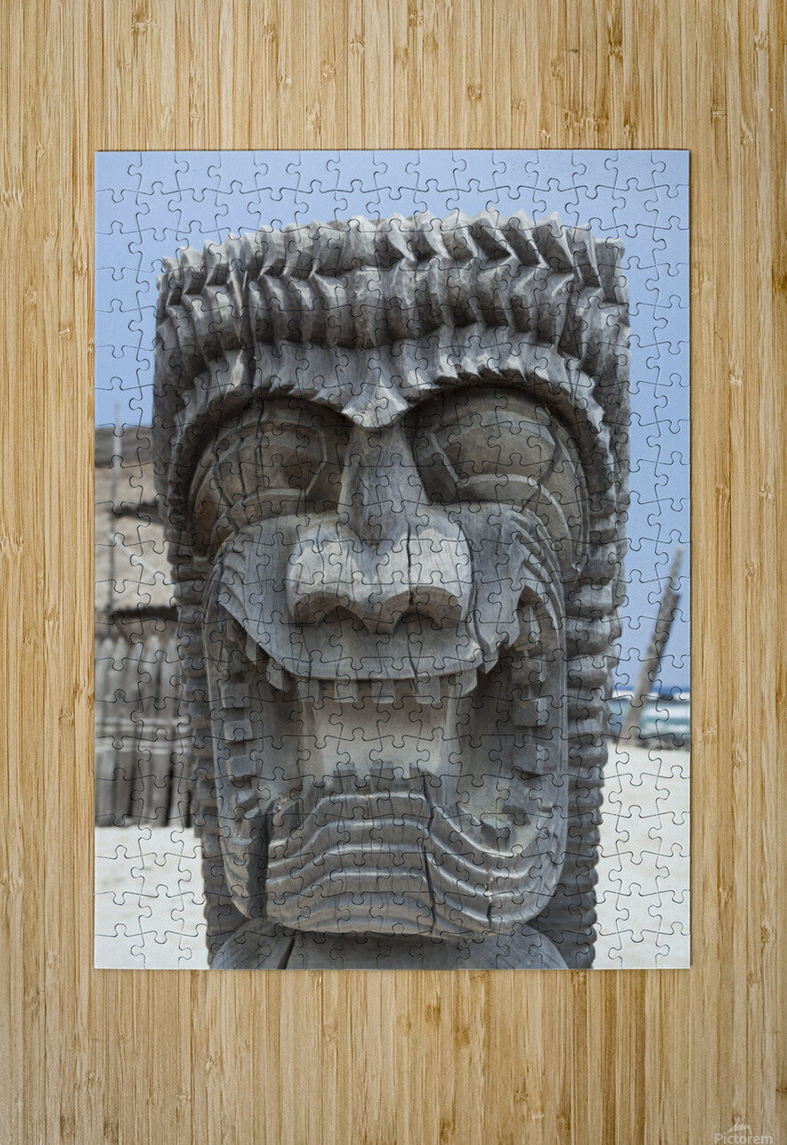 Carving of a face in City of Refuge National Historical Park; Big Island, Hawaii, United States of America  HD Metal print with Floating Frame on Back