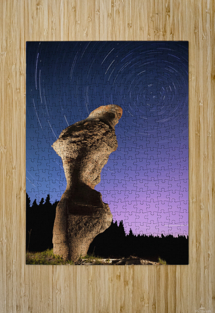 Light painting on monolith and star trails, Anse des Bonnes Femmes at Ile Niapiskau, Mingan Archipelago National Park Reserve of Canada, Cote-Nord, Duplessis region; Quebec, Canada  HD Metal print with Floating Frame on Back