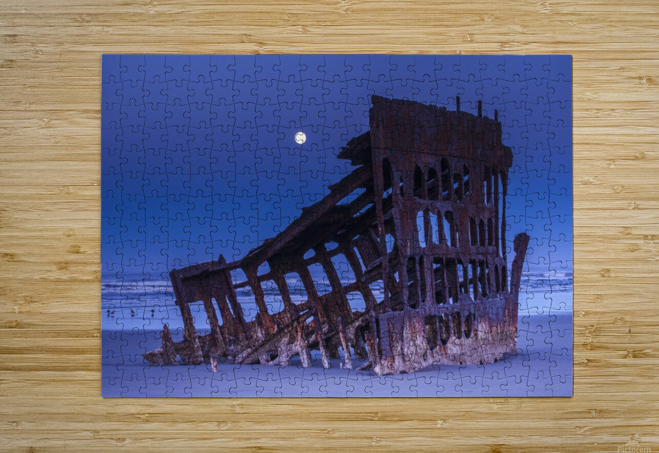 The moon sets over the wreck of the Peter Iredale; Oregon, United States of America  HD Metal print with Floating Frame on Back