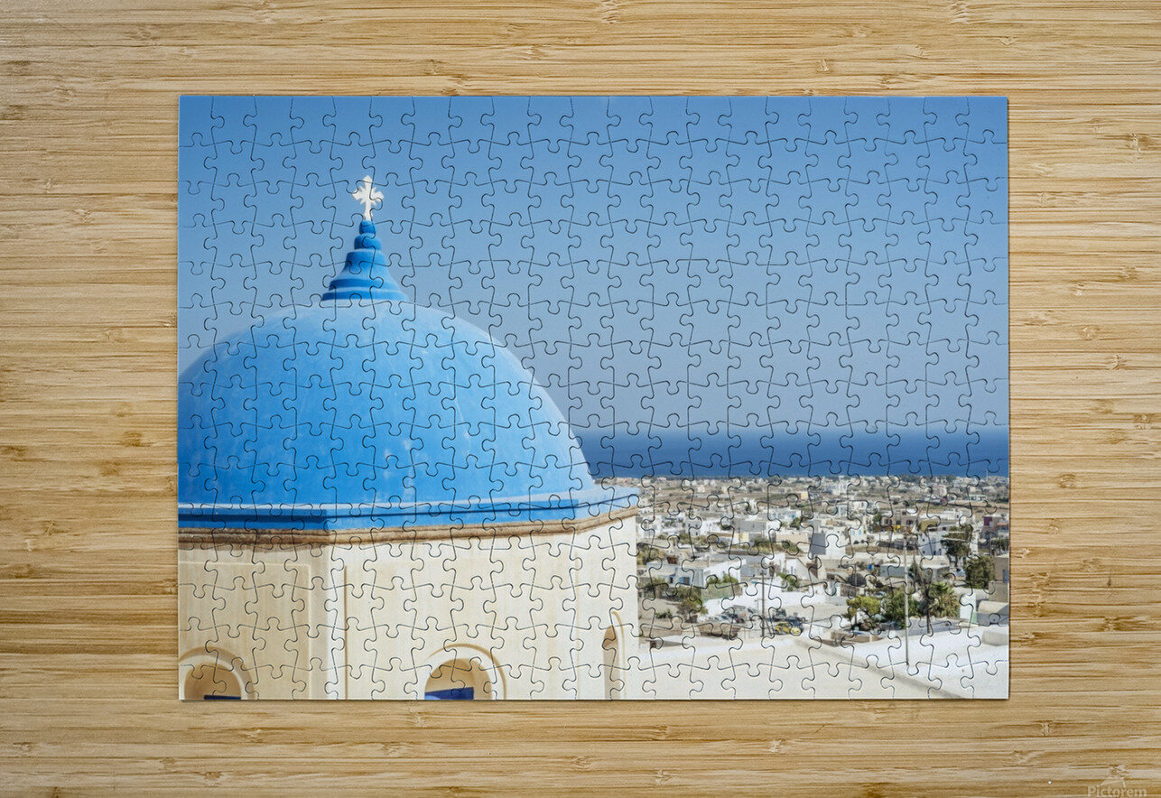 Church with a blue dome roof and view of the Aegean sea; Megalochori, Santorini, Greece  HD Metal print with Floating Frame on Back