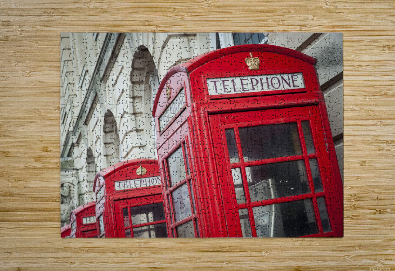 Telephone boxes in a row; Blackpool, Lancashire, England  HD Metal print with Floating Frame on Back