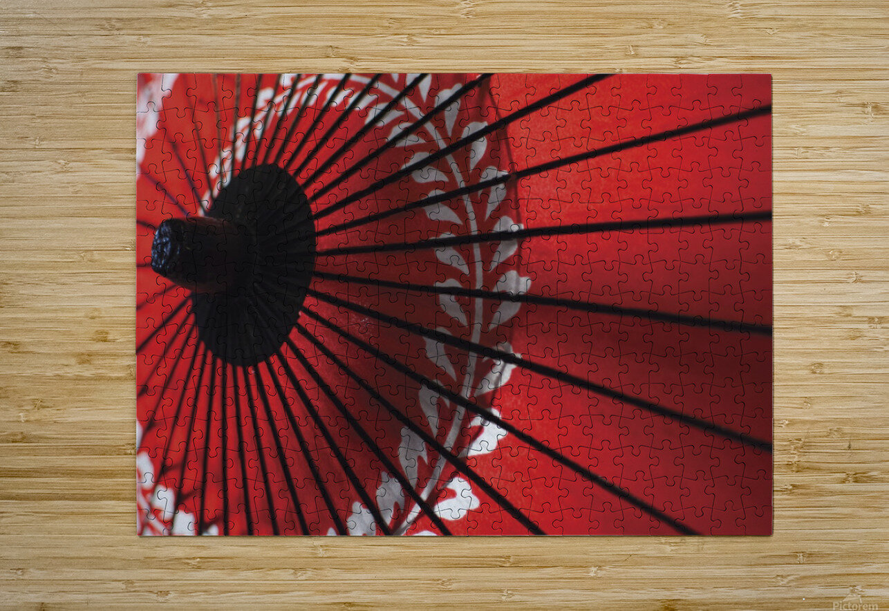 Japanese red umbrella; Kyoto, Japan  HD Metal print with Floating Frame on Back