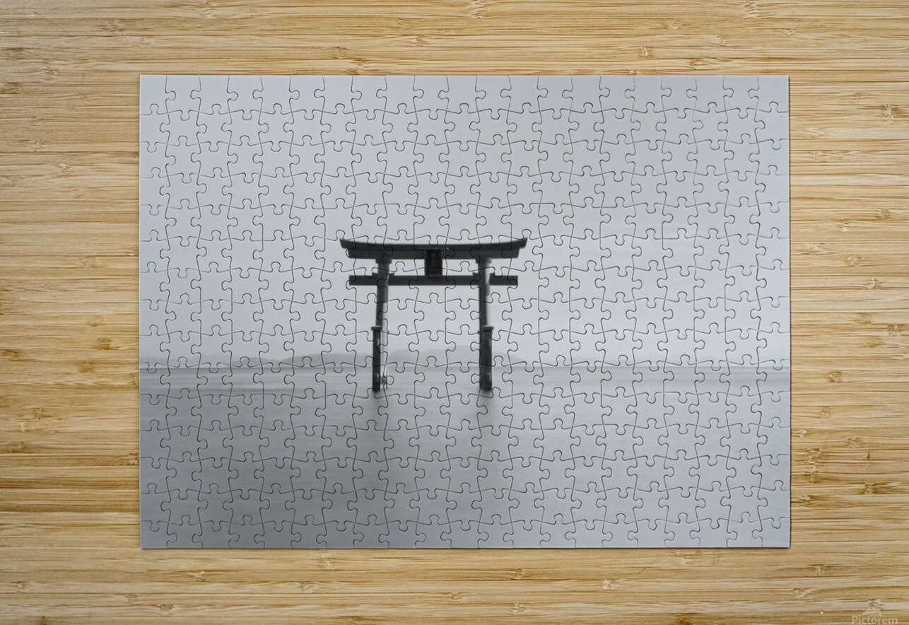 Black and white image of a floating shrine on a lake; Takashiyama, Shiga, Japan  HD Metal print with Floating Frame on Back