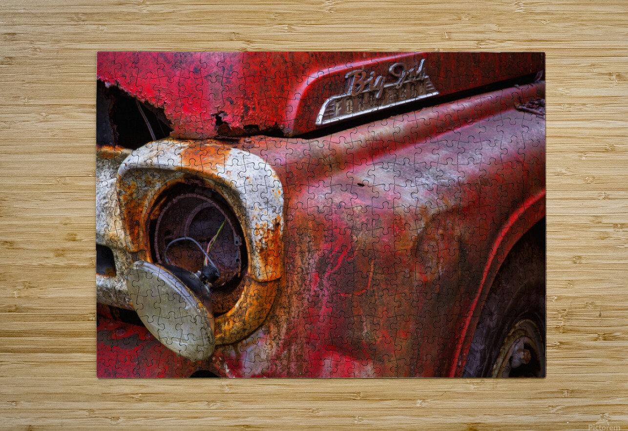 Detail of fire truck that belonged to Kodiak Volunteer Fire Department; Kodiak, Alaska, United States of America  HD Metal print with Floating Frame on Back