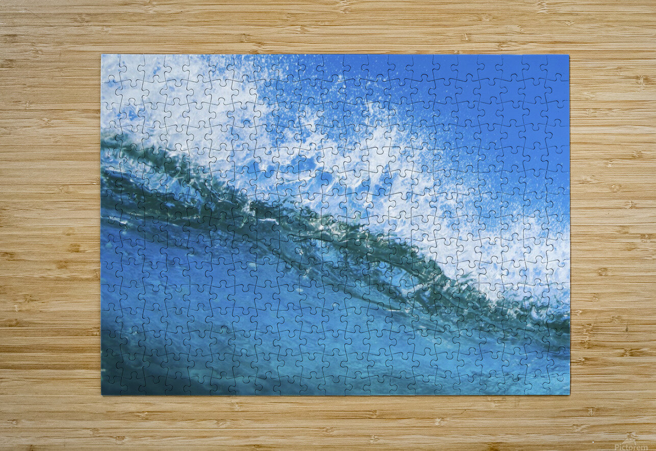 Blue Ocean Wave  HD Metal print with Floating Frame on Back