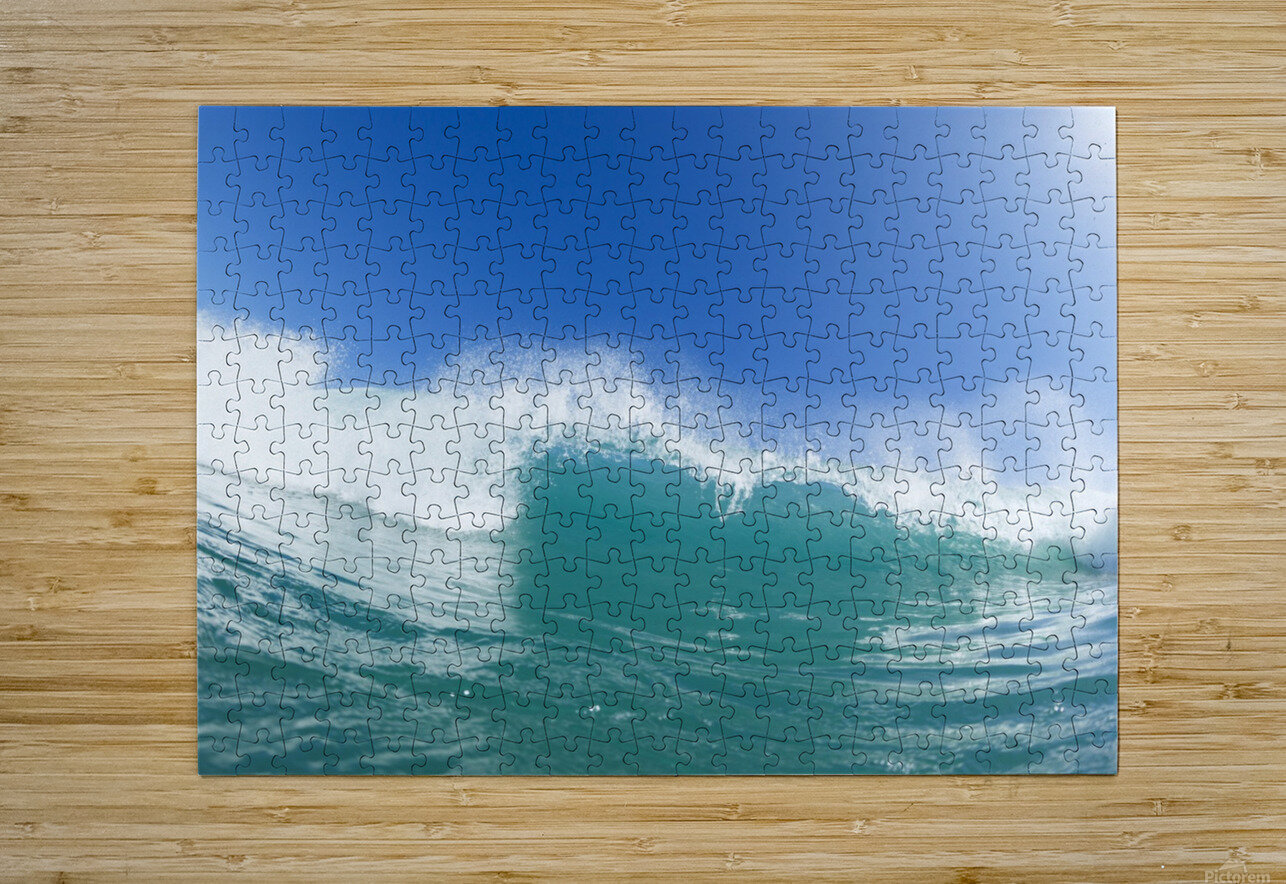 Blue Ocean Wave and Sunny Blue Sky  HD Metal print with Floating Frame on Back