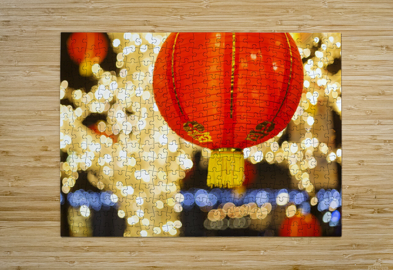 Red and gold Chinese lantern with sparkling white lights in the background, Granville Island; Vancouver, British Columbia, Canada  HD Metal print with Floating Frame on Back