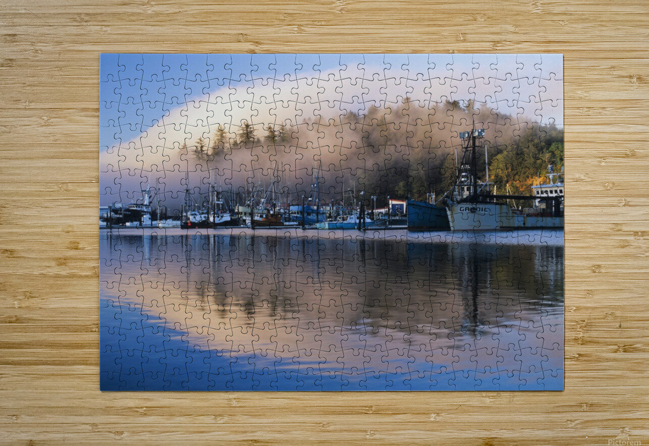 Boats dock at Winchester Bay; Oregon, United States of America  HD Metal print with Floating Frame on Back