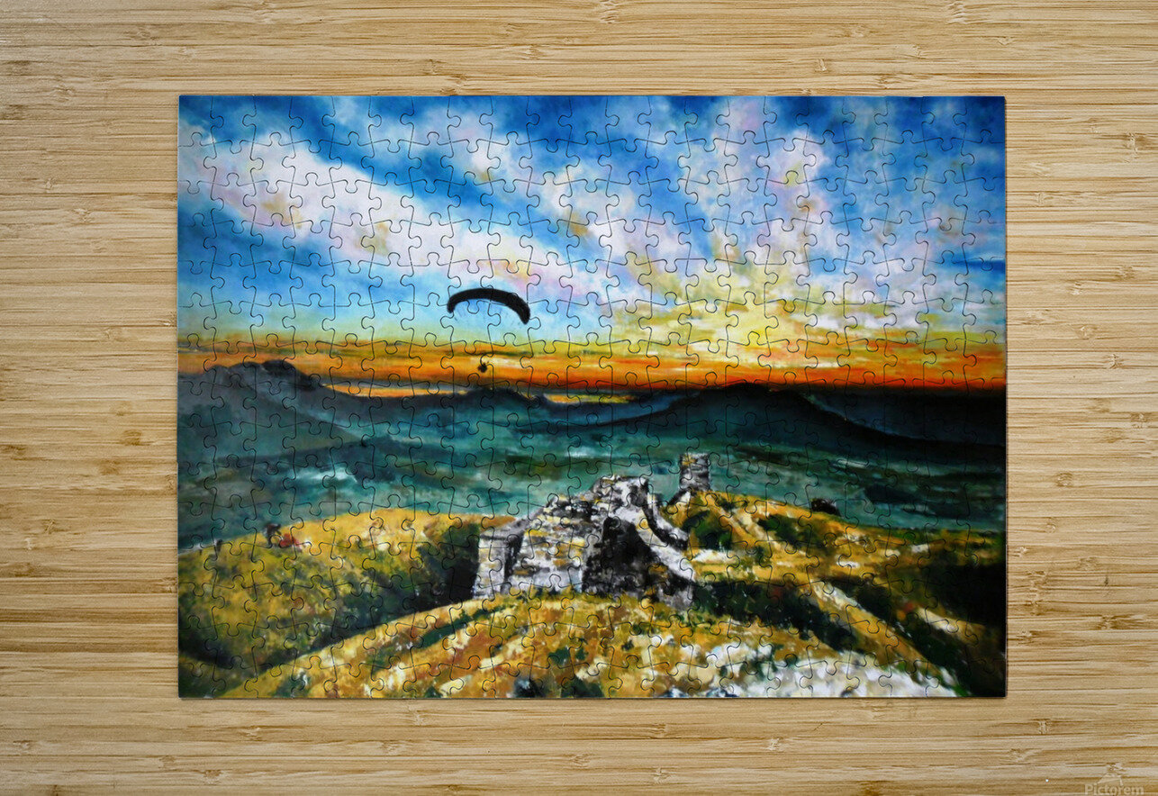 Paragliding  HD Metal print with Floating Frame on Back