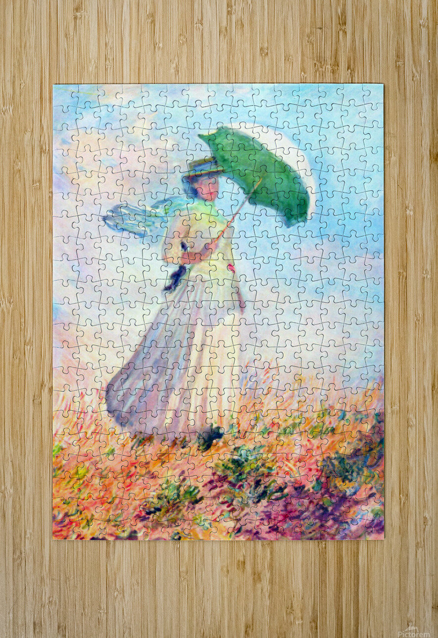 Lady with sunshade, study by Monet  HD Metal print with Floating Frame on Back