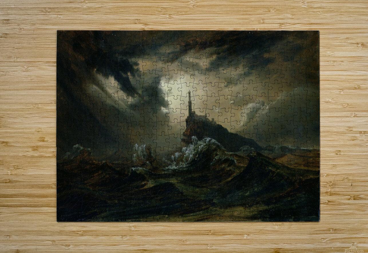 Sturmische See mit Leuchtturm  HD Metal print with Floating Frame on Back