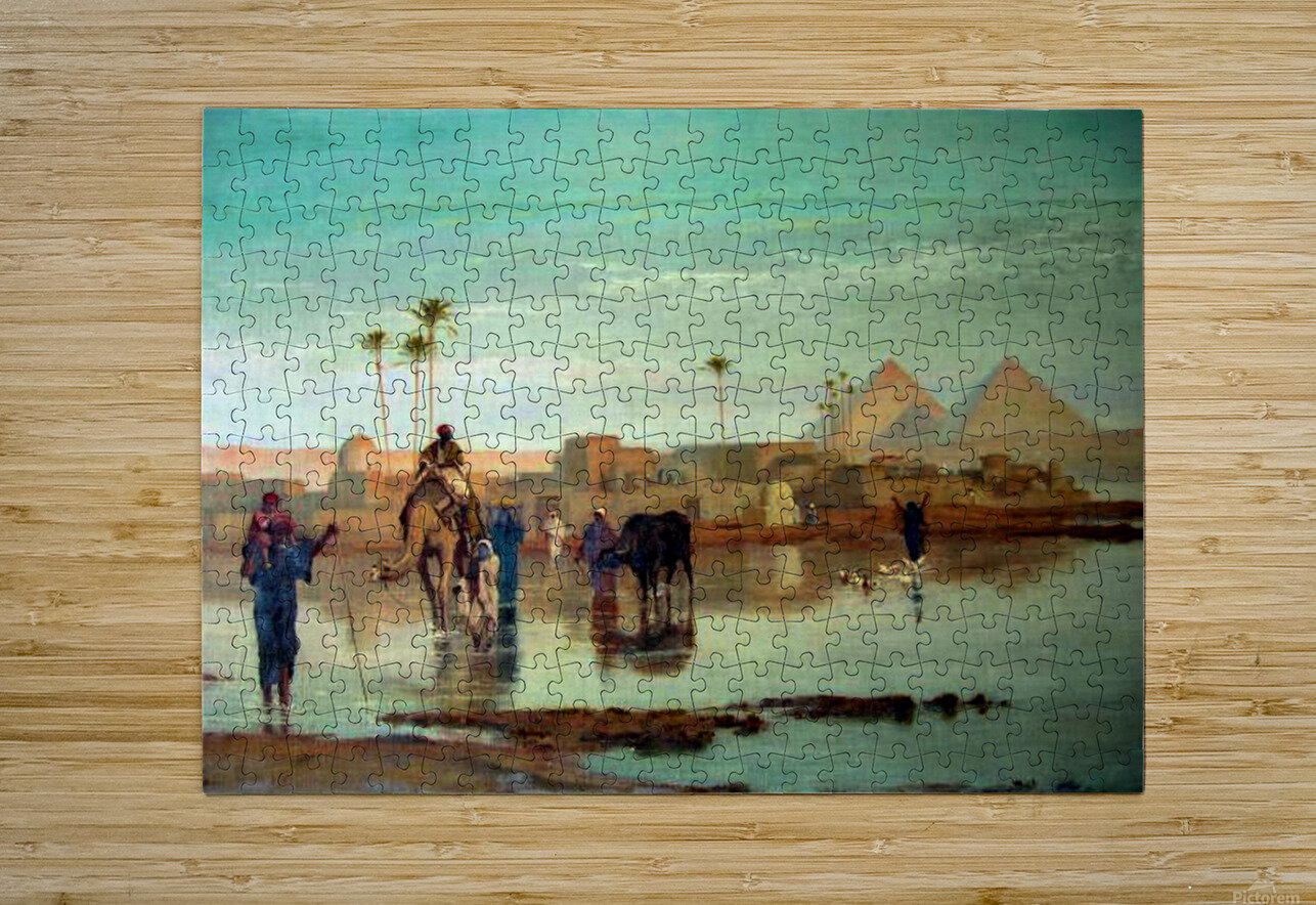 Crossing the river with the camels  HD Metal print with Floating Frame on Back