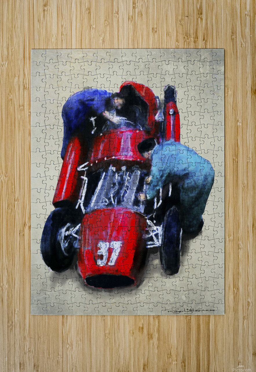 Lancia D50 1955  HD Metal print with Floating Frame on Back