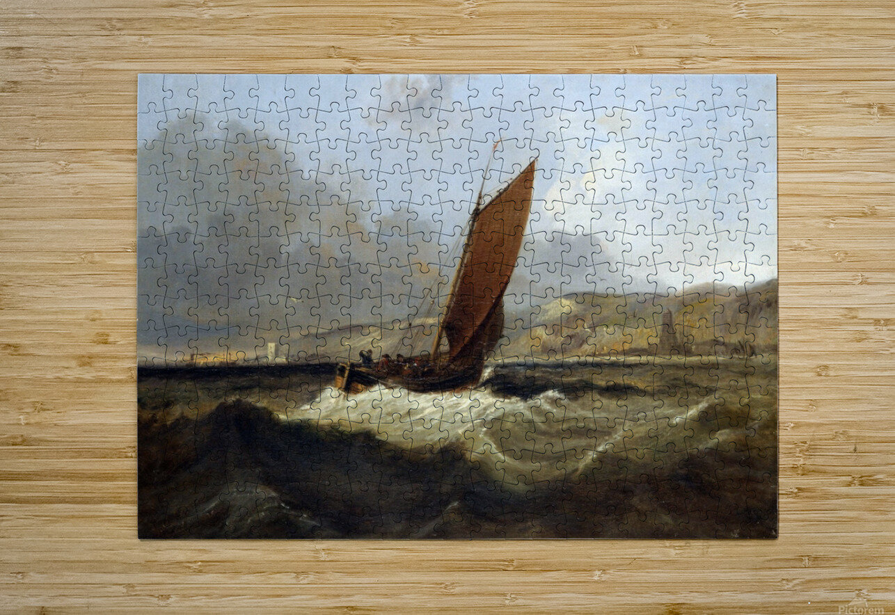 Sailing Boat off the Coast  HD Metal print with Floating Frame on Back