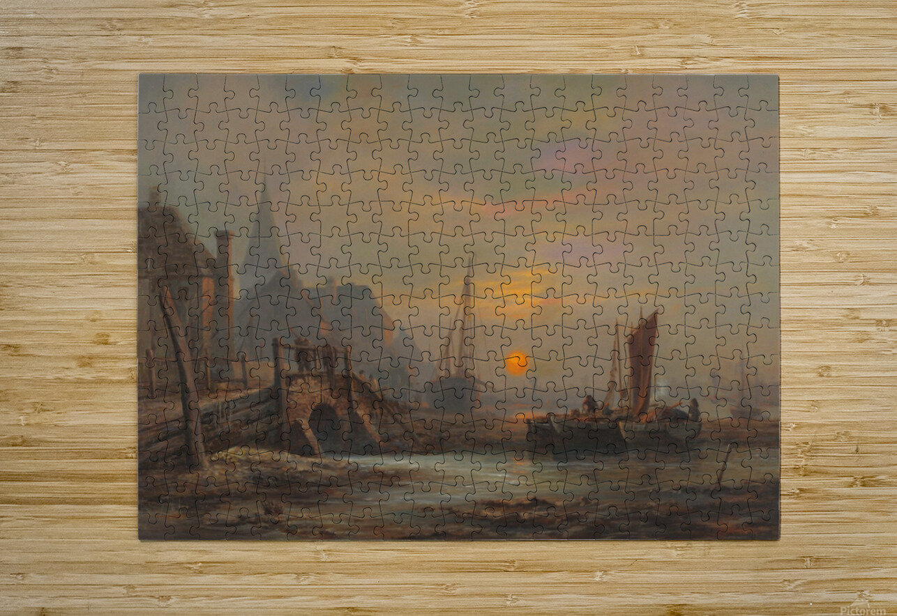 Preparation of fishing boats, Low Countries  HD Metal print with Floating Frame on Back