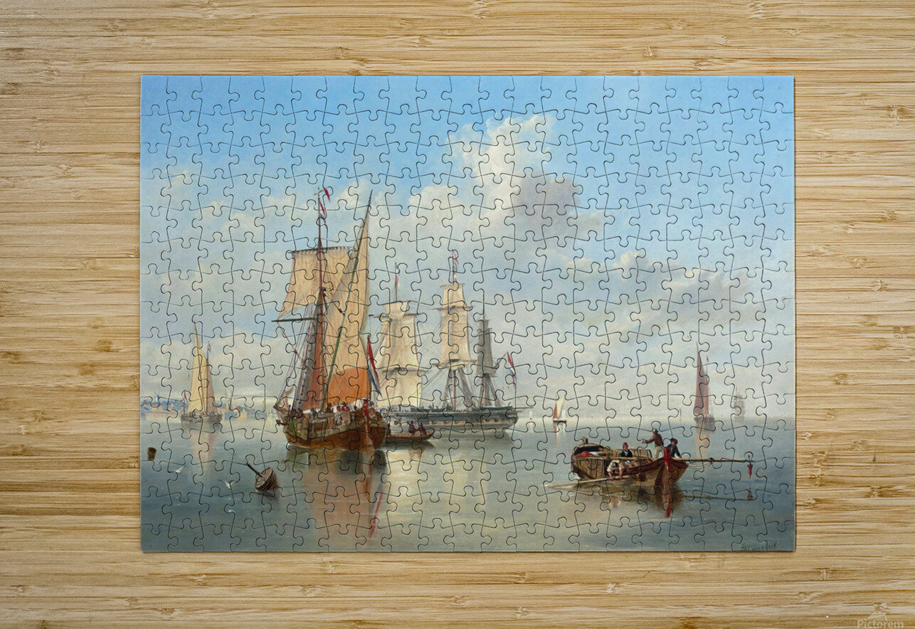 Shipping in a Flat Calm off the Dutch coast  HD Metal print with Floating Frame on Back