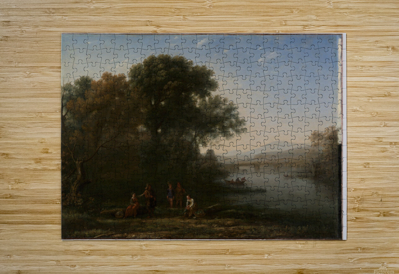 A few people in a lagoon  HD Metal print with Floating Frame on Back