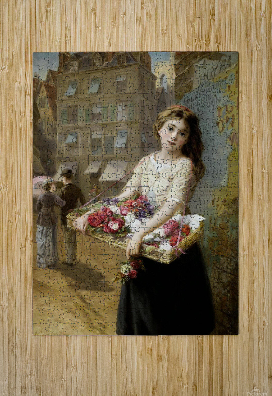 A girl selling roses  HD Metal print with Floating Frame on Back