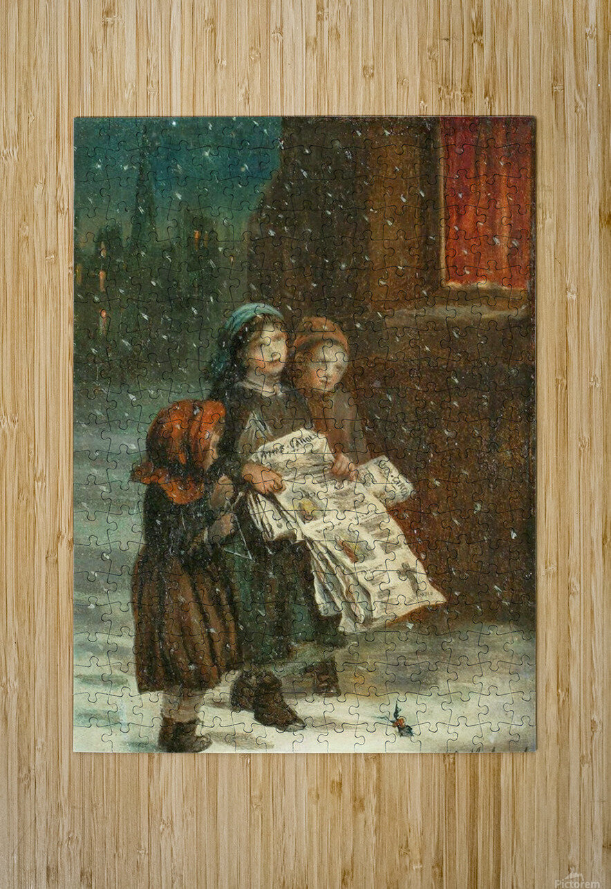 Small children with newspapers  HD Metal print with Floating Frame on Back
