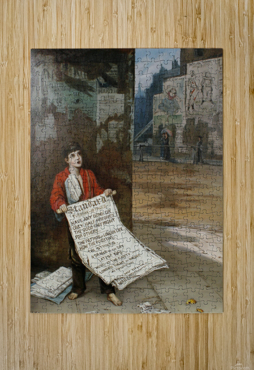 A London Newsboy 1893  HD Metal print with Floating Frame on Back