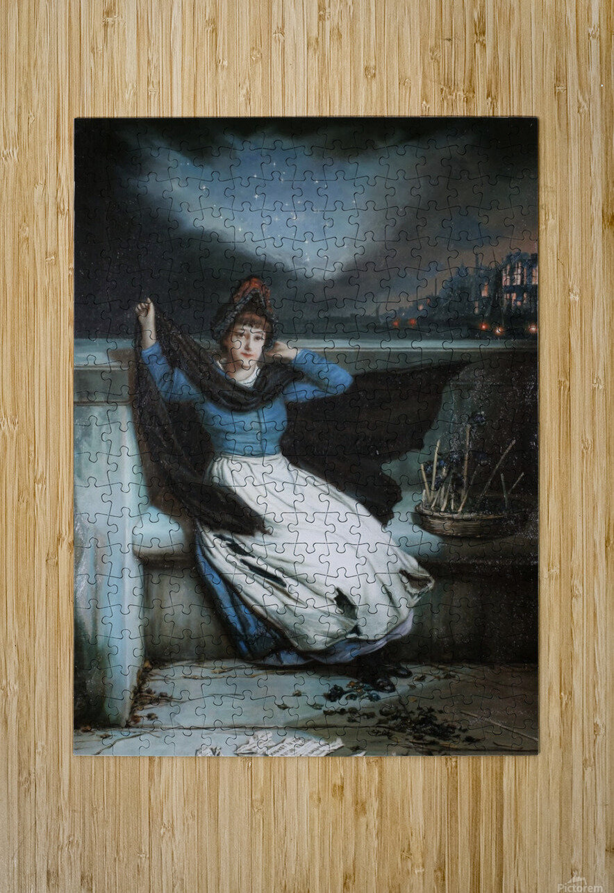 A woman in a blue dress at the edge of a city  HD Metal print with Floating Frame on Back