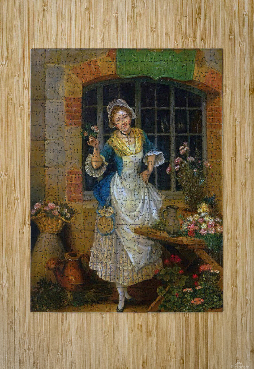 A young florist  HD Metal print with Floating Frame on Back