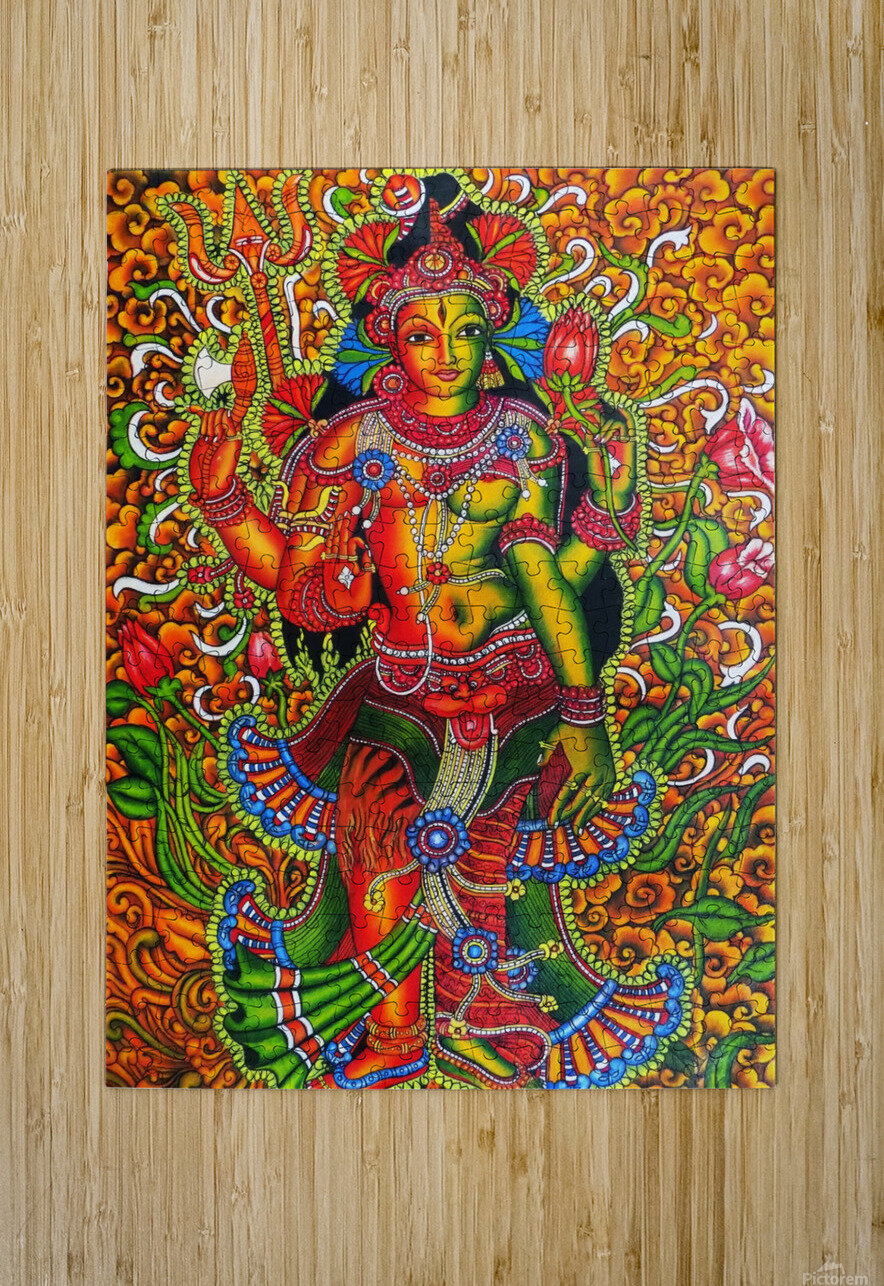ARDHA NAAREESHWARAN LORD SIVA AND PARVATHY  HD Metal print with Floating Frame on Back