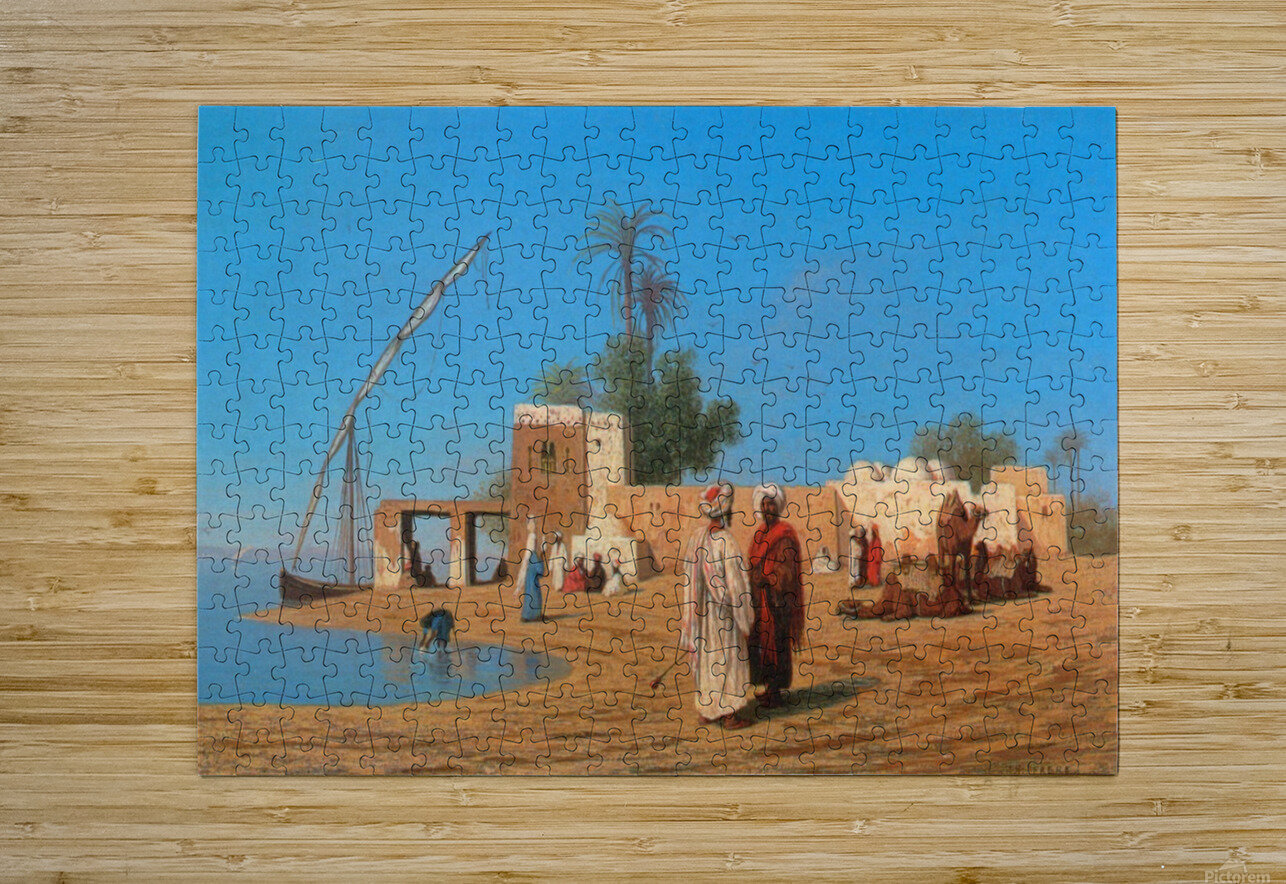 A Village on the Shores of the Nile  HD Metal print with Floating Frame on Back