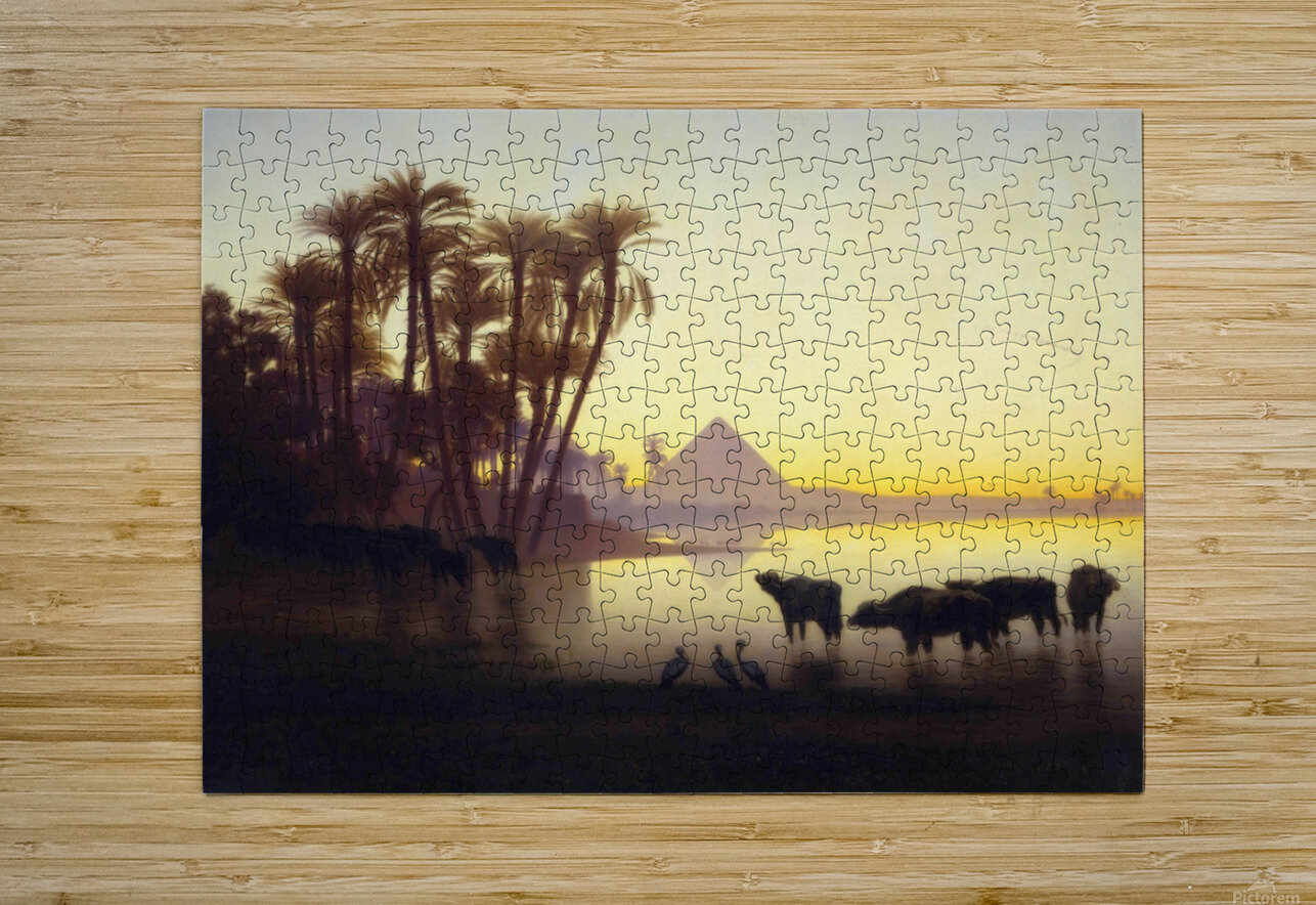 Along the Nile at Giza  HD Metal print with Floating Frame on Back