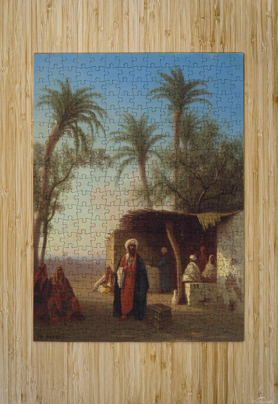 Arab encampment in an oasis nearby  HD Metal print with Floating Frame on Back