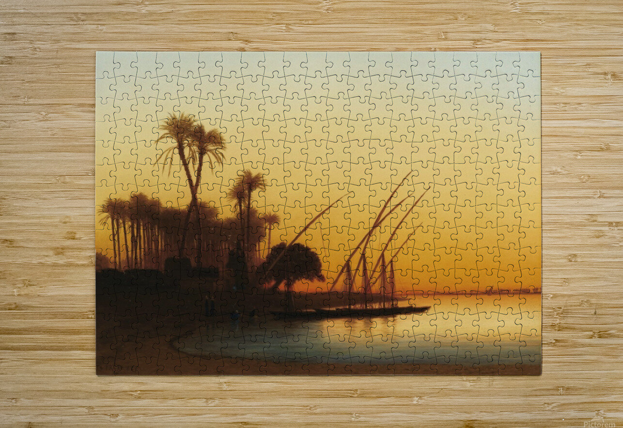 Sunset on the Nile  HD Metal print with Floating Frame on Back