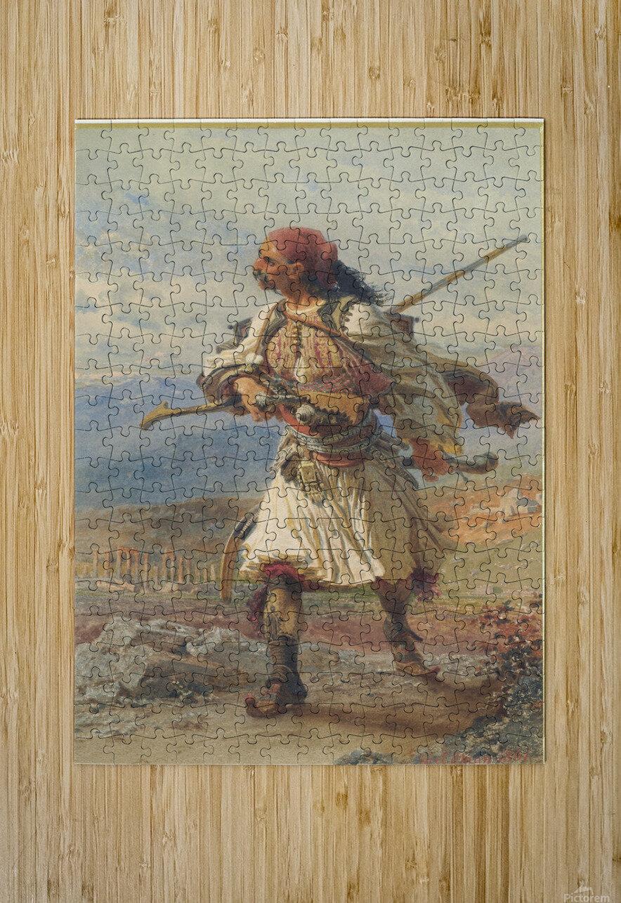 Greek Warrior  Impression métal HD avec cadre flottant sur le dos