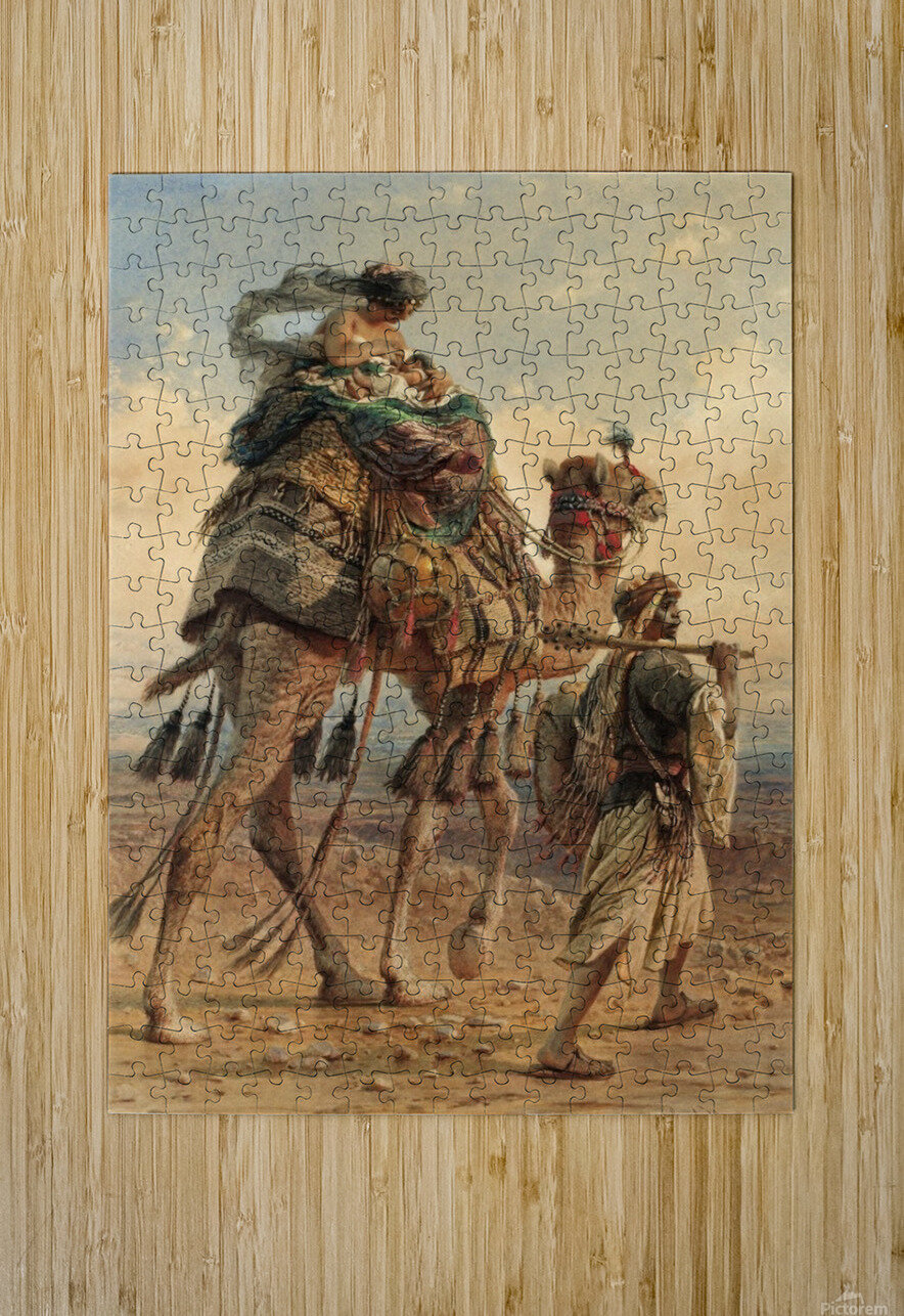 A family crossing the desert  HD Metal print with Floating Frame on Back