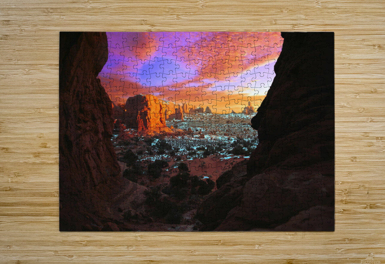 Rocky Buttes Viewed Through Canyon  HD Metal print with Floating Frame on Back