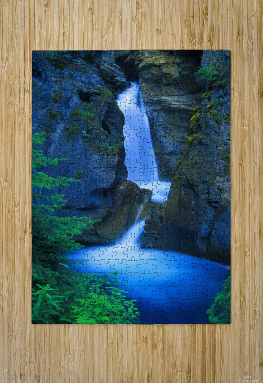 A Beautiful Waterfall, Johnston Canyon, Banff, Alberta, Canada  HD Metal print with Floating Frame on Back